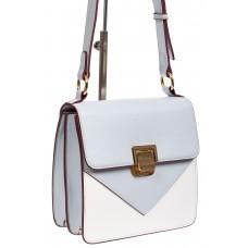 На фото 1 - Маленькая каркасная женская сумка из экокожи, цвет голубой