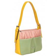 На фото 1 - Женская сумка из мягкой искусственной кожи, цвет розовый с зелёным и жёлтым