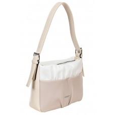 На фото 1 - Женская сумка из мягкой искусственной кожи, цвет белый с пудровым и молочным