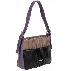 На фото 1 - Женская сумка из мягкой искусственной кожи, цвет серая пудра с чёрным и фиолетовым