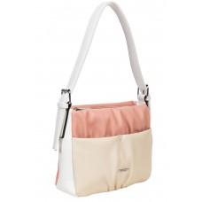 На фото 1 - Женская сумка из мягкой искусственной кожи, цвет розовый с белым и молочным