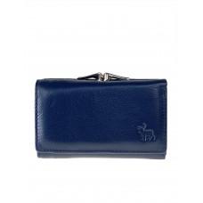 На фото 1 - Женский кожаный кошелёк с фермуаром, цвет тёмно-синий