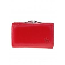 На фото 1 - Женский кожаный кошелёк с фермуаром, цвет красный