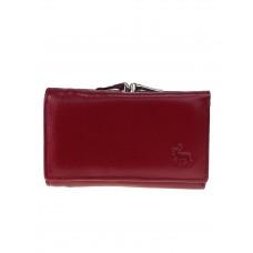 На фото 1 - Женский кожаный кошелёк с фермуаром, цвет бордовый