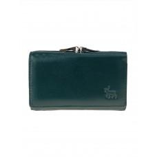 На фото 1 - Женский кожаный кошелёк с фермуаром, цвет зелёный