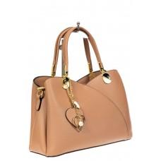 На фото 1 - Женская сумка тоут из экокожи, цвет бежевый