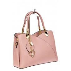 На фото 1 - Женская сумка тоут из экокожи, цвет розовый