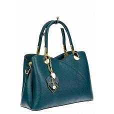 На фото 1 - Женская сумка тоут из экокожи, цвет бирюзовый