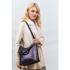 На фото 1 - Женская сумка хобо из искусственной кожи, цвет графит