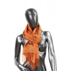 На фото 1 - Шарф-палантин из кашемира в листочках, цвет оранжевый