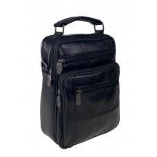 На фото 1 - Чёрная мужская сумка под документы из фактурной искусственной кожи