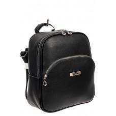 На фото 1 - Женский рюкзак из фактурной экокожи, цвет чёрный