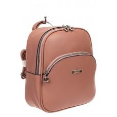 На фото 1 - Женский рюкзак из фактурной экокожи, цвет розовый