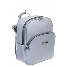 На фото 1 - Женский рюкзак из фактурной экокожи, цвет голубой