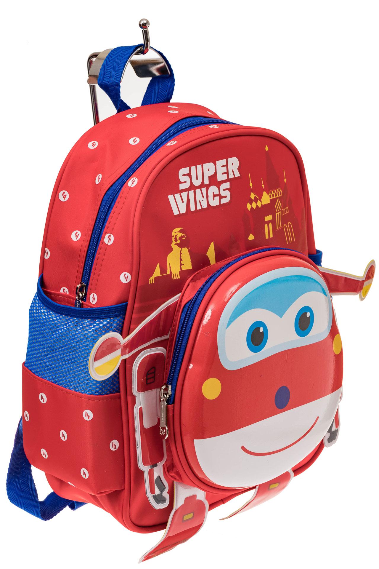 На фото 1 - Детский рюкзак самолетик, цвет красный