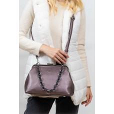 На фото 1 - Вечерняя женская сумка с фермуаром из мягкой экокожи, цвет пыльная роза