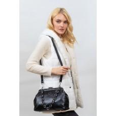 На фото 1 - Вечерняя женская сумка с фермуаром из мягкой экокожи, цвет синий