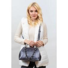 На фото 1 - Вечерняя женская сумка с фермуаром из мягкой экокожи, цвет серебро