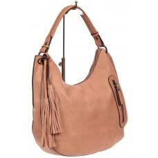 На фото 1 - Женская сумка хобо из искусственной кожи, цвет лососевый