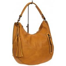 На фото 1 - Женская сумка хобо из искусственной кожи, цвет жёлто-оранжевый