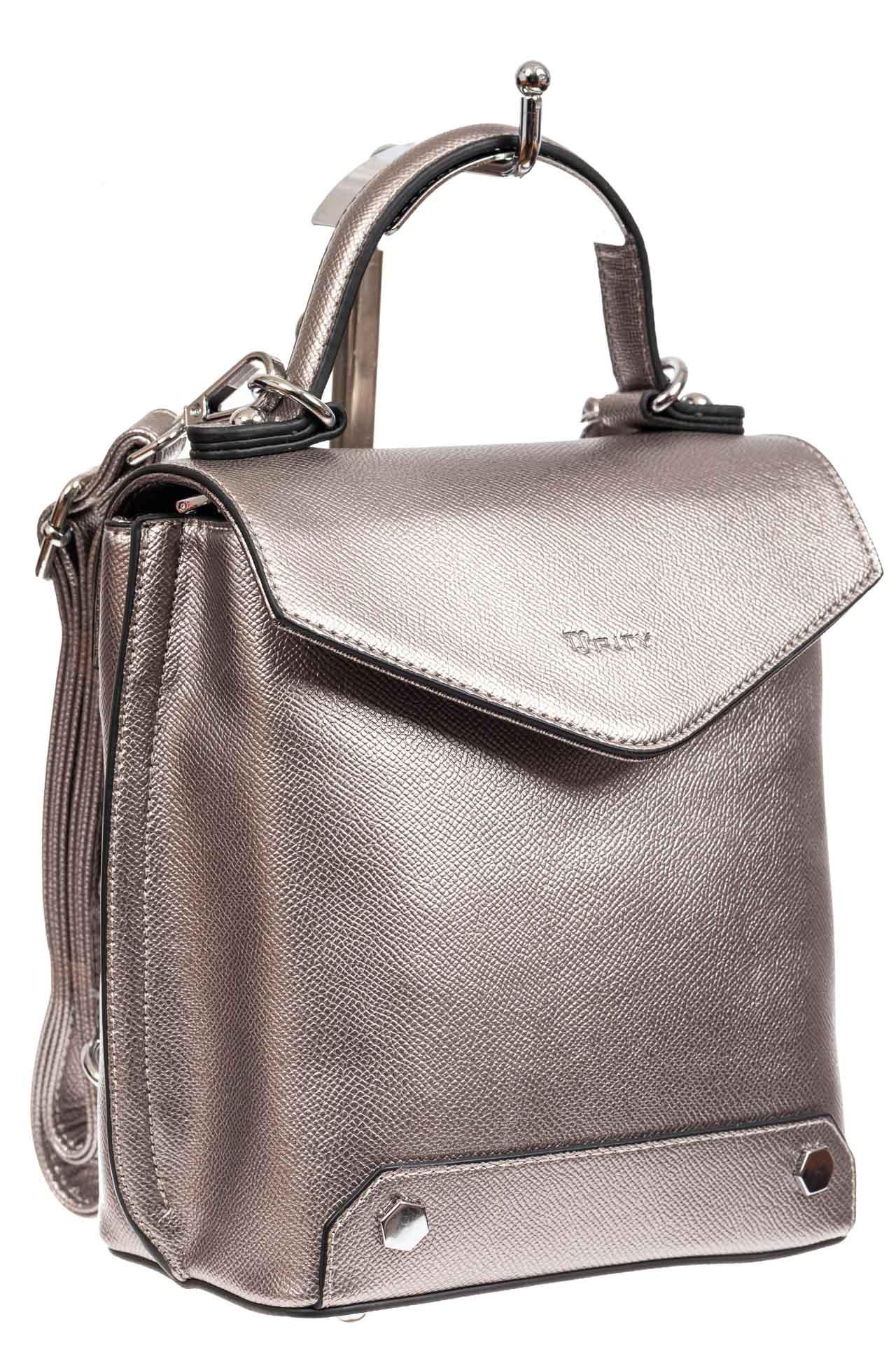 Сумка-рюкзак трансформер из эко-кожи, цвет бронза