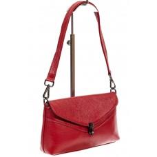 На фото 1 - Женская маленькая сумка из фактурной натуральной кожи, цвет красный