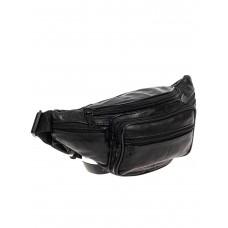 На фото 1 - Мужская поясная сумка из мягкой натуральной кожи, цвет чёрный