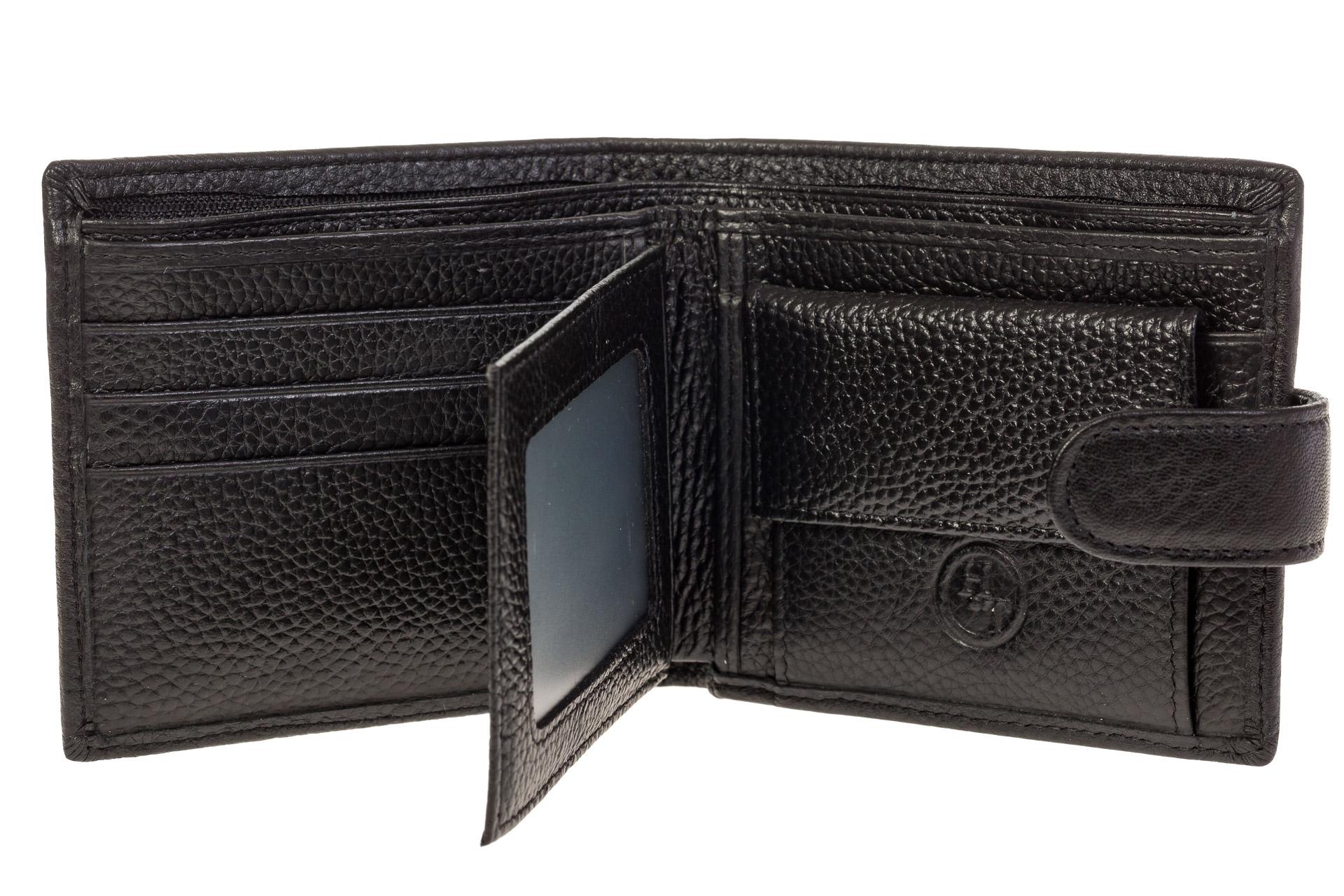 На фото 2 - Мужской кошелек из натуральной кожи черного цвета
