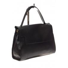 На фото 1 - Женская сумка-портфель из натуральной кожи, цвет черный