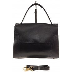 На фото 2 - Женская сумка-портфель из натуральной кожи, цвет черный