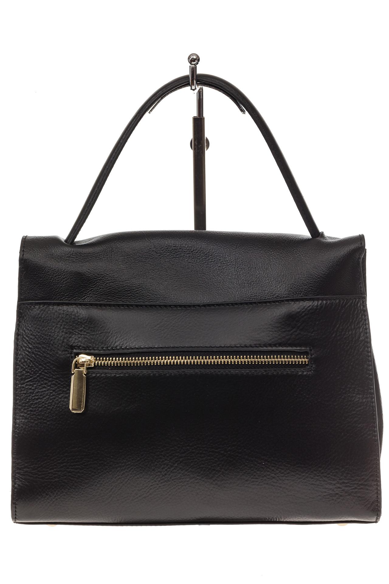 На фото 3 - Женская сумка-портфель из натуральной кожи, цвет черный