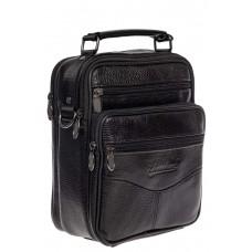 На фото 1 - Кожаная мужская сумка для документов, цвет чёрный