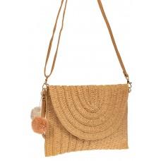 На фото 1 - Женская сумка-клатч из соломы, цвет бежевый