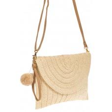 На фото 1 - Женская сумка-клатч из соломы, цвет молочный