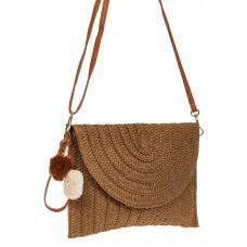 На фото 1 - Женская сумка-клатч из соломы, цвет коричневый