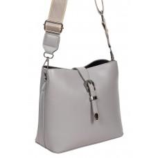 На фото 1 - Женская сумка через плечо из экокожи, цвет серый