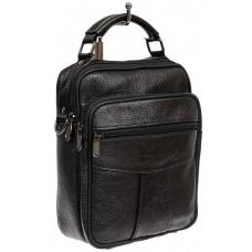 На фото 1 - Повседневная мужская сумка из фактурной натуральной кожи, цвет чёрный