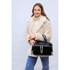 На фото 1 - Женская сумка хобо из натуральной замши и искусственной кожи, цвет черный