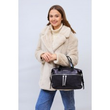 На фото 1 - Женская сумка хобо из натуральной замши и искусственной кожи, цвет серый