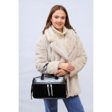 На фото 1 - Женская сумка хобо из натуральной замши и искусственной кожи, цвет серебро с черным