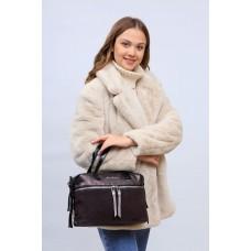 На фото 1 - Женская сумка хобо из натуральной замши и искусственной кожи, цвет шоколад