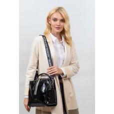 На фото 1 - Молодёжная сумка из искусственной кожи, цвет черный