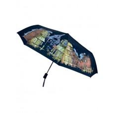На фото 1 - Женский зонт полуавтомат с живописью, цвет синий