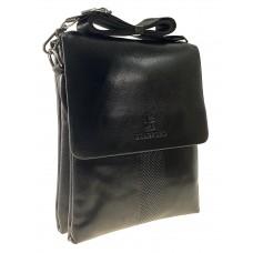 На фото 1 - Мужская сумка мессенджер из гладкой искусственной кожи, чёрная