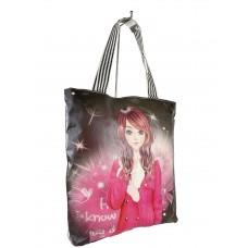 На фото 1 - Женская пляжная сумка из текстиля и искусственной кожи с принтом, мультицвет