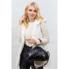 На фото 1 - Вечерняя женская сумка с фермуаром из мягкой экокожи, цвет чёрный