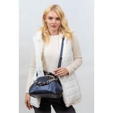 На фото 1 - Вечерняя женская сумка с фермуаром из мягкой экокожи, цвет синий-металлик