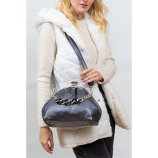На фото 1 - Вечерняя женская сумка с фермуаром из мягкой экокожи, цвет стальной