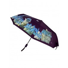 На фото 1 - Зонт женский полуавтомат с живописью, цвет фиолетовый