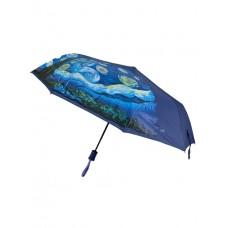 На фото 1 - Зонт женский полуавтомат с живописью, цвет синий